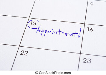 Mark event day with the word Appointment on calendar.