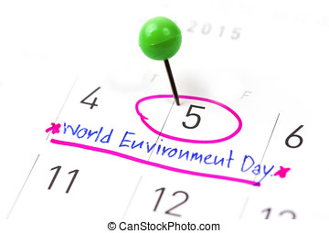 Mark on the calendar at 5. Environment Day