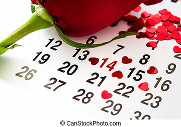 Mark on the calendar with a heart drawn at February 14 and rose. Valentine's Day,