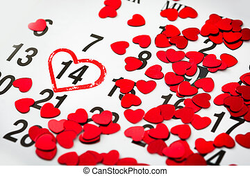 Mark on the calendar with a heart drawn at February 14. Valentine's Day,