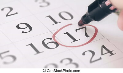 Mark on the seventeenth 17 day of a month in the calendar,...