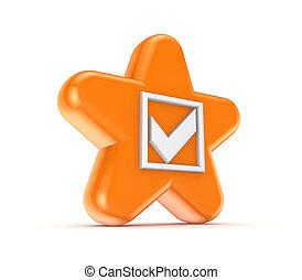 mark., orange, tique, étoile, blanc