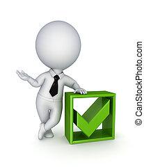 mark., persona, verde, pequeño, garrapata, 3d