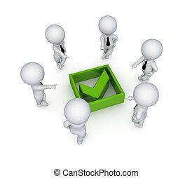mark., persone, zecca, intorno, verde, 3d, piccolo