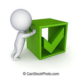 mark., pessoa, verde, pequeno, carrapato, 3d
