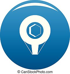 Mark pin icon blue vector