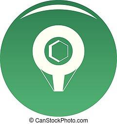 Mark pin icon vector green