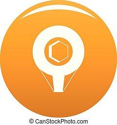 Mark pin icon vector orange