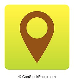 Mark pointer sign. Vector. Brown icon at green-yellow gradient square with rounded corners on white background. Isolated.