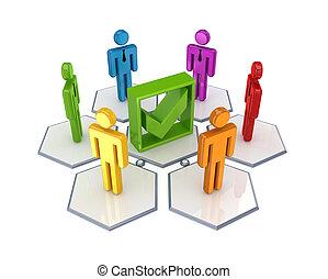 mark., réseau, social, tique, vert