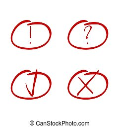 Mark red marker. Tick and cross, exclamation and question symbol