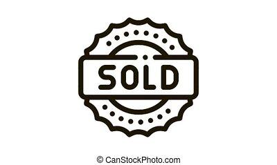 mark sold Icon Animation. black mark sold animated icon on white background