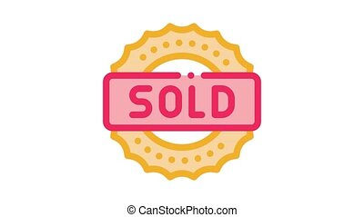 mark sold Icon Animation. color mark sold animated icon on white background