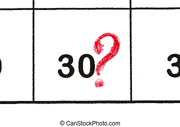 Mark the date number 30. The fifth day of the month is marked with a red