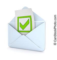 mark., tique, vert, enveloppe