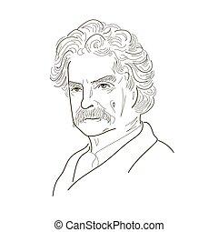 Mark Twain. Sketch illustration. Black and white. Vector.