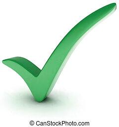 mark., vettore, verde, assegno