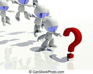 mark, vraag, antwoorden, het kijken, karakters, 3d