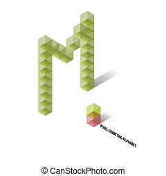 marka, isometric, -, pixel, abeceda