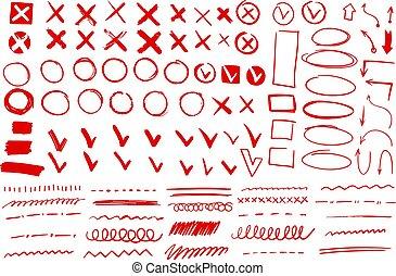 marka, klíště, kruh, vektor, ikona, rukopis, revidovat,...