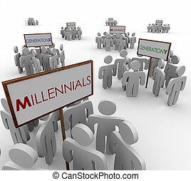 marke, ludzie, produkcja, demograficzny, młody, millennials, grupy, y, x