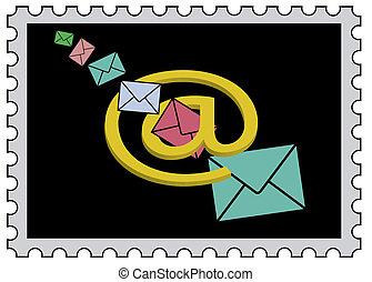 Marke mit AT-Zeichen und Briefen - Briefe fliegen durch ein...