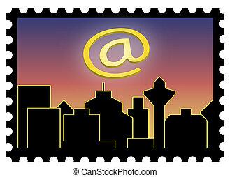Marke mit Stadtsilhouette - Freigestellte Marke mit Skyline...