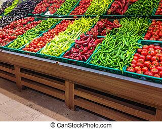 marked, hos, adskillige, farverig, friske frugter grønsager