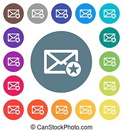 Marked mail flat white icons on round color backgrounds