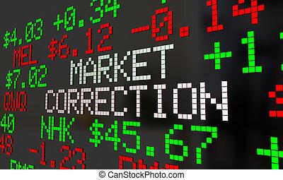 marked, rettelse, aktie, priser, fald, ticker, adjustment, 3, illustration