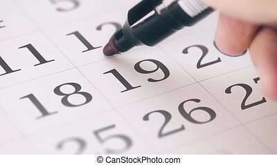Marked the nineteenth 19 day of a month in the calendar...