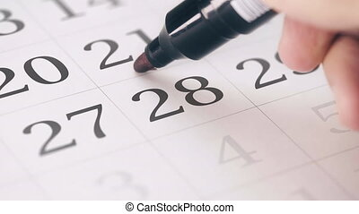 Marked the twenty-eighth 28 day of a month in the calendar...