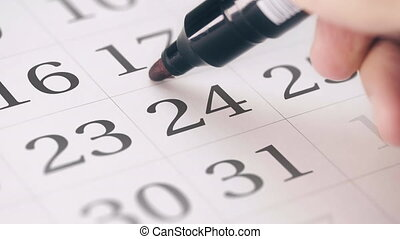 Marked the twenty-fourth 24 day of a month in the calendar...