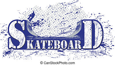 skateboard - marked with a skateboard ramp, and a colorful...