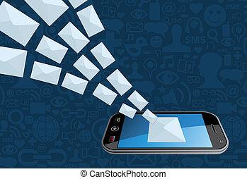 markedsfør telefoner., plaske, email, ikon