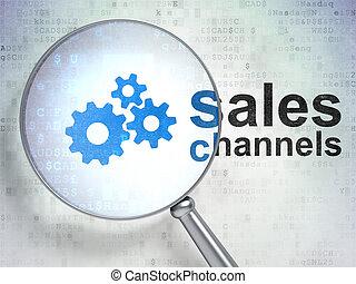 markedsføring, afsætningen, kanaler, glas, optisk, det gears, concept: