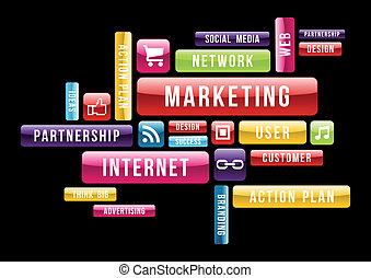 markedsføring, begreb, internet, sky, tekst