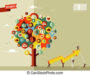 markedsføring, firma, træ