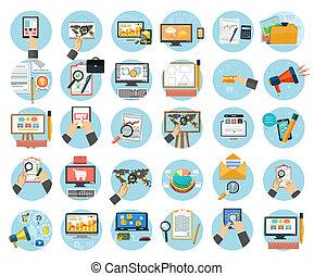 markedsføring, genstænder, icons., kontor, firma