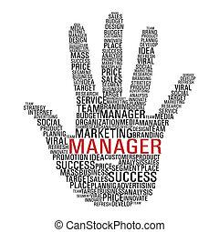 markedsføring, hånd, communication.
