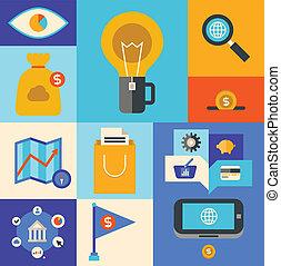 markedsføring, ikoner internet