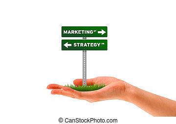 markedsføring, og, strategi