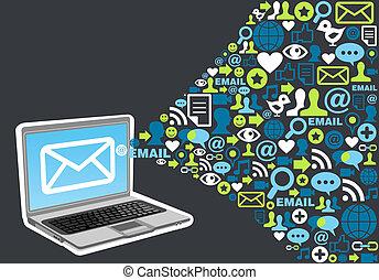markedsføring, plaske, begreb, email, ikon