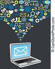 markedsføring, plaske, email, kampagne, ikon
