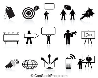 markedsføring, sæt, sort, iconerne