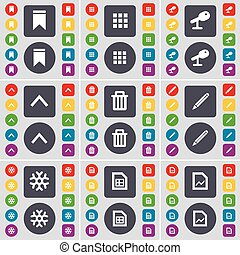 Marker, Apps, Microphone, Arrow up, Trash can, Pencil, Snowflake, Graph file icon symbol. A large set of flat, colored buttons for your design. Vector