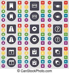 Marker, Credit, Socket, Road, Back, Question mark, Calendar, Sur icon symbol. A large set of flat, colored buttons for your design. Vector