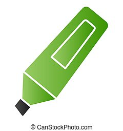 Marker flat icon. Opened highlight waterproof pen symbol, gradient style pictogram on white background. Office or stationery item sign for mobile concept and web design. Vector graphics.