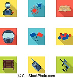 Marker for paintball, equipment, balls and other accessories for the game. Paintball single icon in flat style vector symbol stock illustration web.