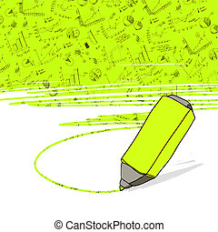 marker., geschäftsbüro, erfolgreich, vector., schaubilder, gelb highlighter, hervorgehoben